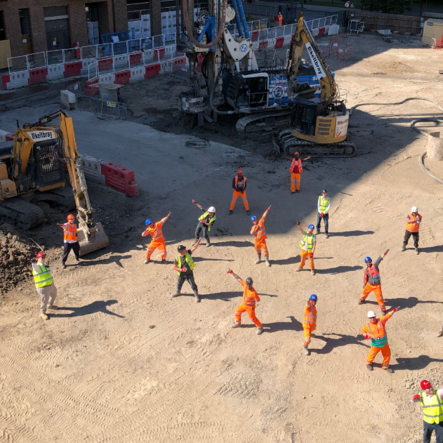 Construction workers at Elephant Park